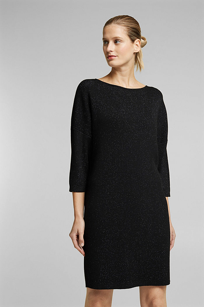Recycled: glittering knit dress, BLACK, detail image number 0