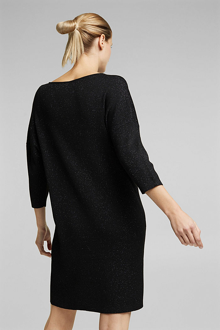 Recycled: glittering knit dress, BLACK, detail image number 2