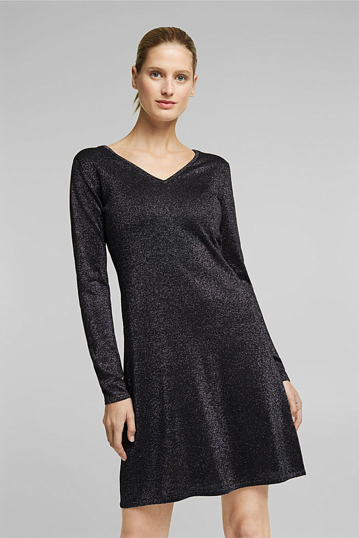 Recycled: jersey dress with glitter, BLACK, detail image number 0