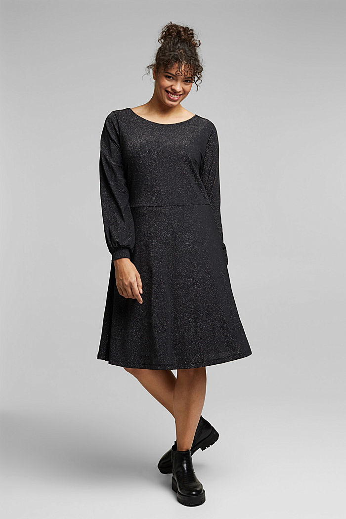 CURVY jersey dress with glitter, BLACK, detail image number 1