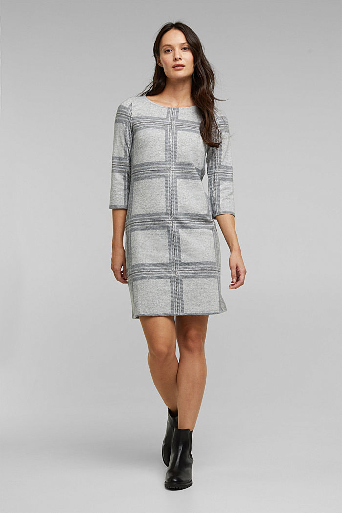 Recycled: flannel dress with a check pattern, LIGHT GREY, detail image number 1