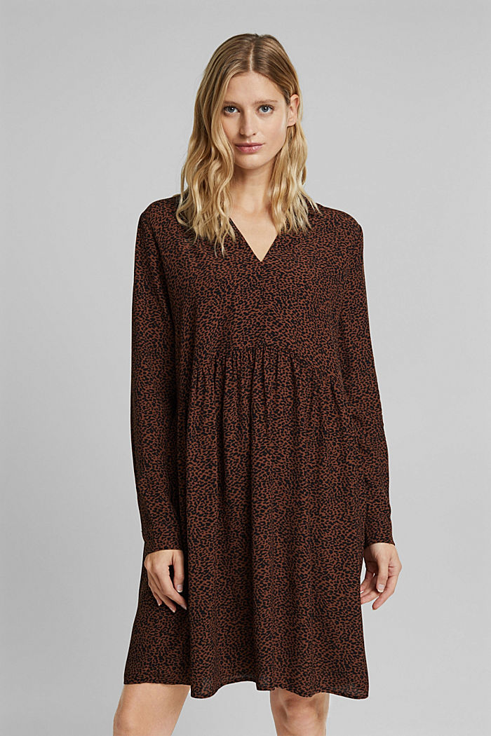 Shirt dress with a print, BROWN, detail image number 0