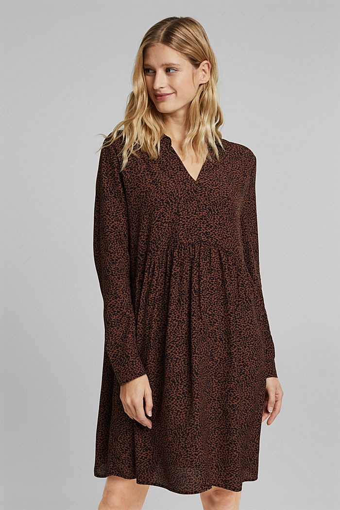 Shirt dress with a print, BROWN, detail image number 5