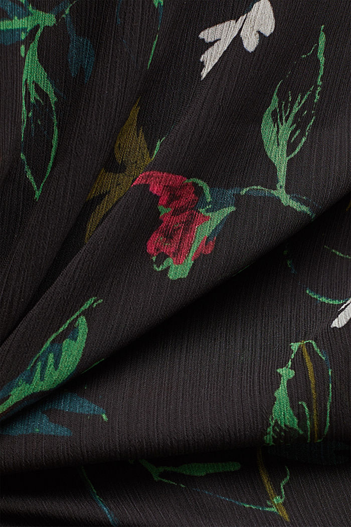 Recycled: printed chiffon blouse, BLACK, detail image number 4