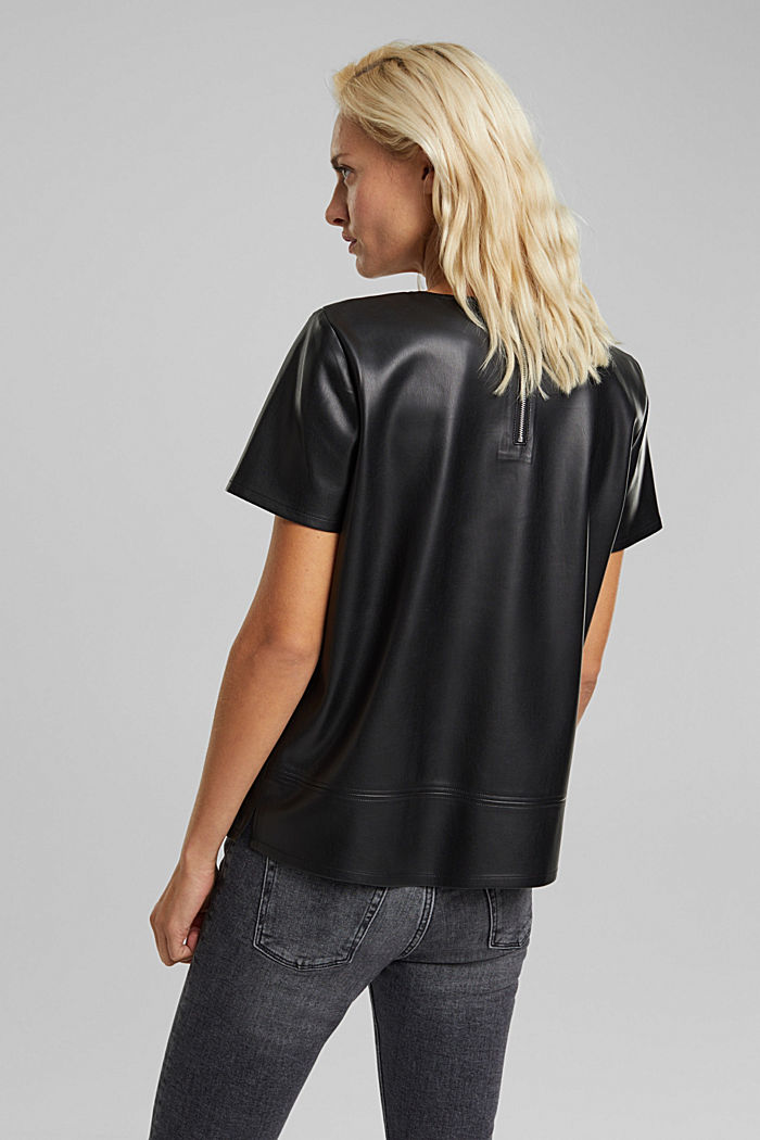 Blouse top in faux leather, BLACK, detail image number 3