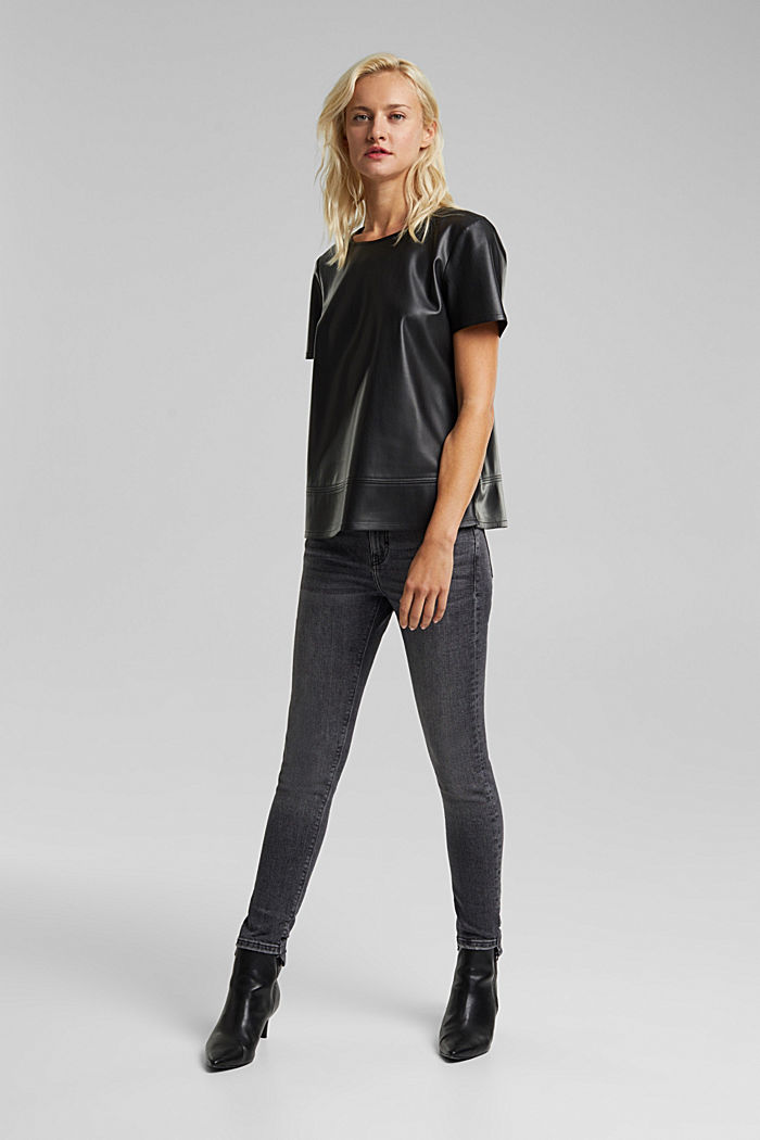 Blouse top in faux leather, BLACK, detail image number 1