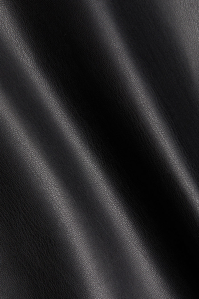 Blouse top in faux leather, BLACK, detail image number 4