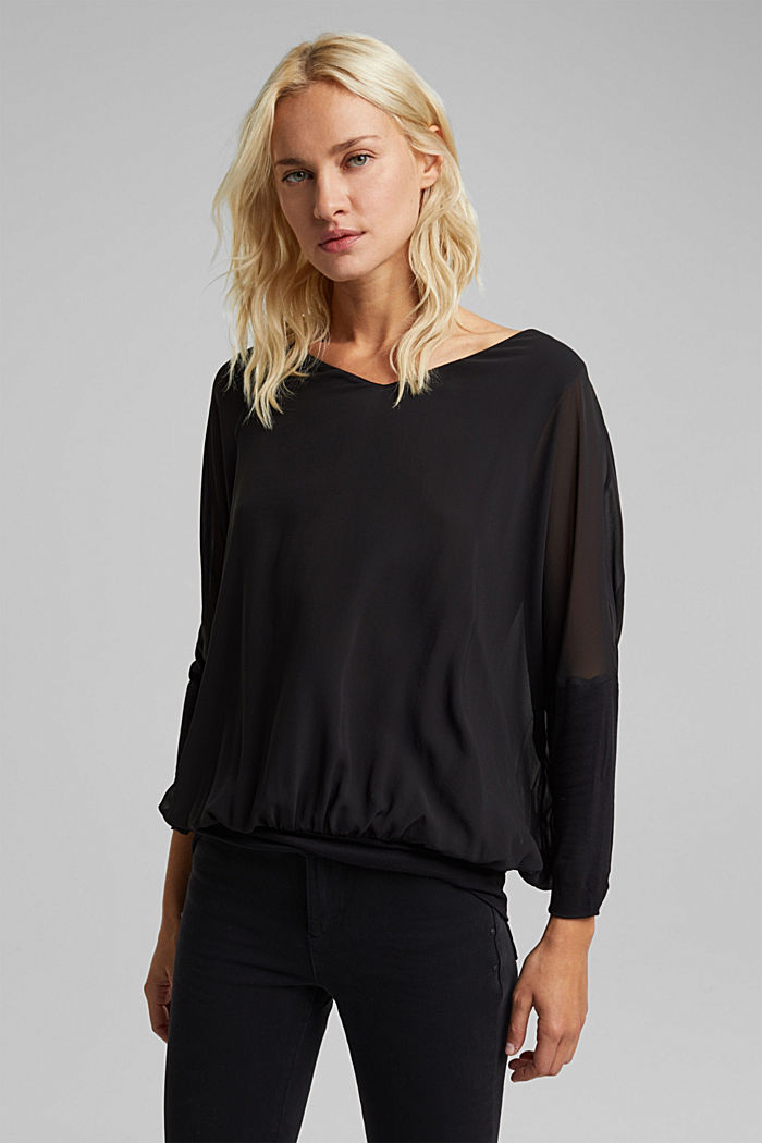 Chiffon blouse with a jersey border, BLACK, detail image number 0