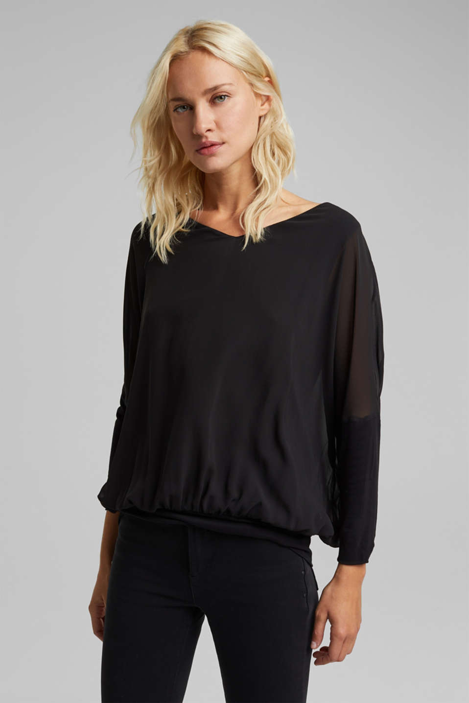 Esprit - Chiffon blouse with a jersey border