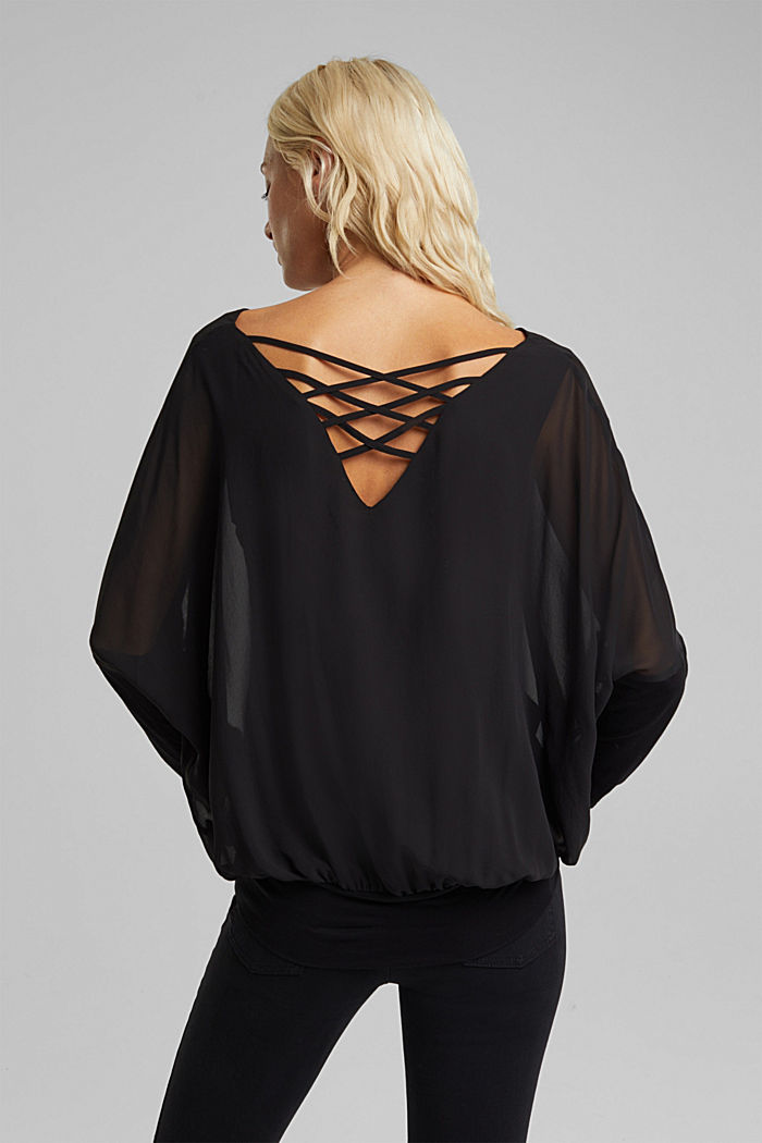 Chiffon blouse with a jersey border, BLACK, detail image number 3