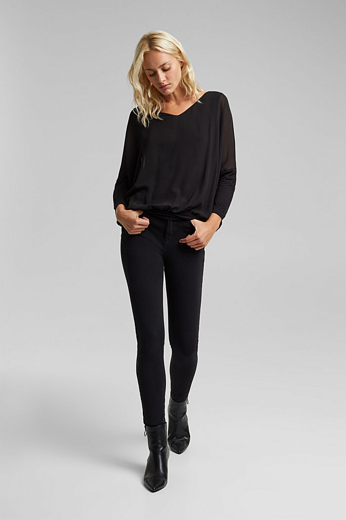Chiffon blouse with a jersey border, BLACK, detail image number 1