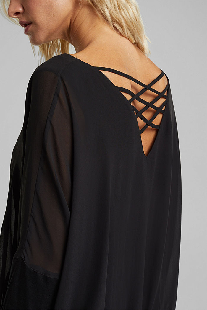 Chiffon blouse with a jersey border, BLACK, detail image number 2