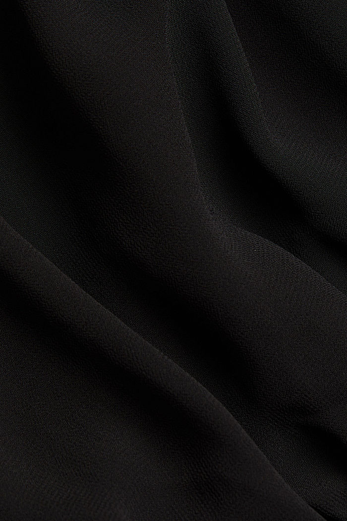 Chiffon blouse with a jersey border, BLACK, detail image number 4