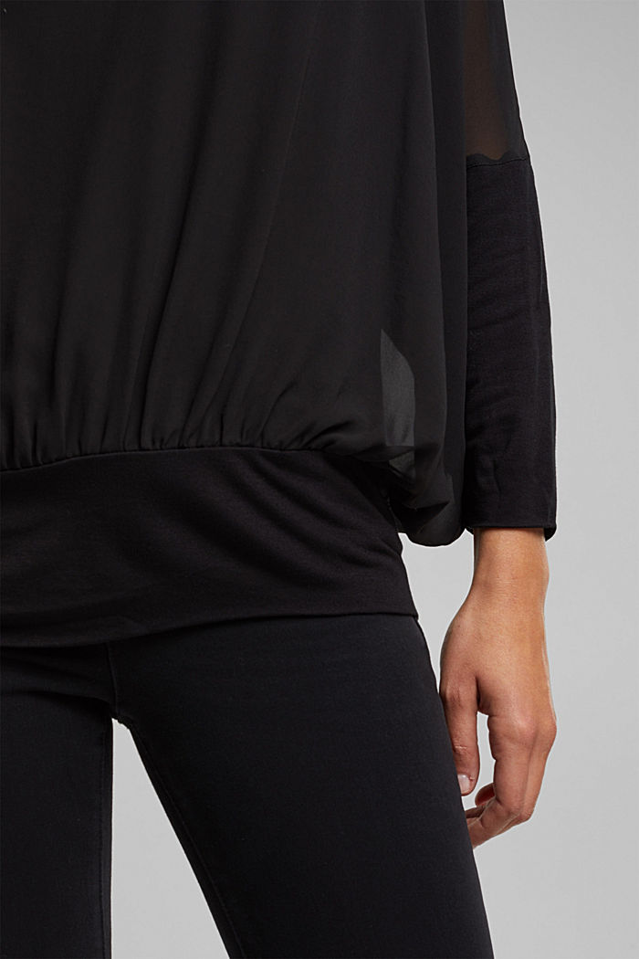 Chiffon blouse with a jersey border, BLACK, detail image number 5