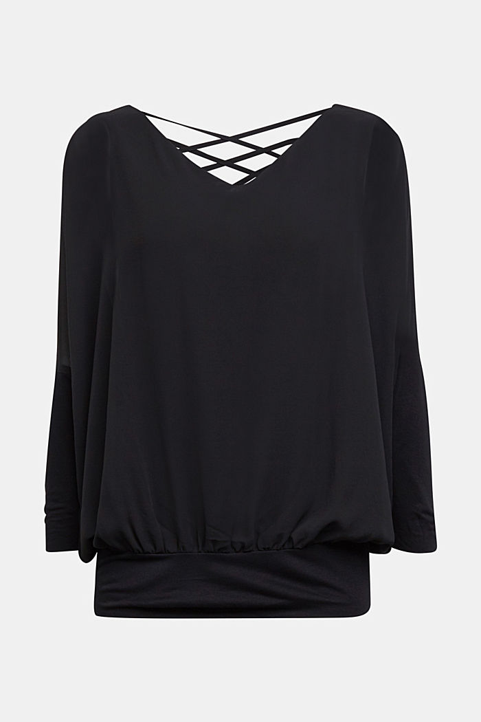 Chiffon blouse with a jersey border, BLACK, detail image number 6