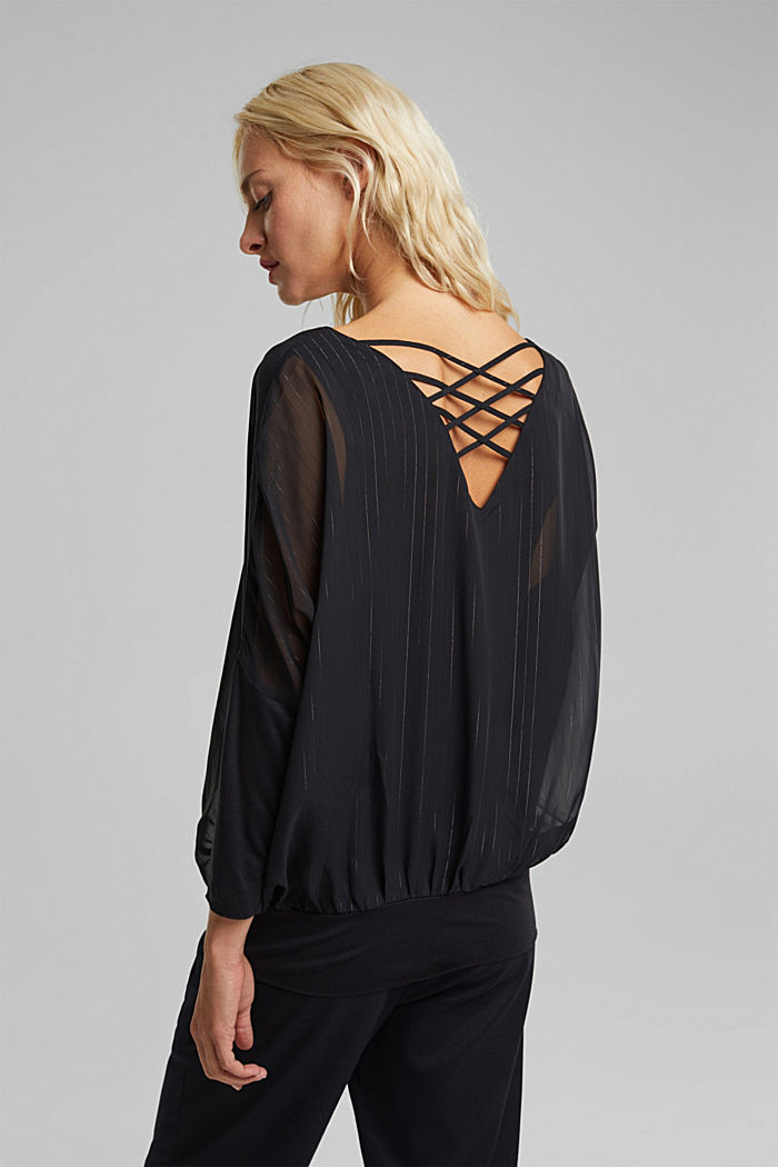 Chiffon blouse with glittery pinstripes, BLACK, detail image number 3
