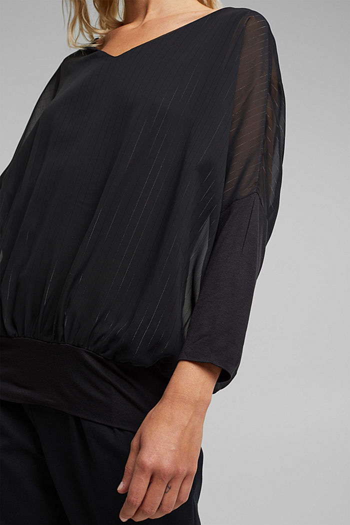 Chiffon blouse with glittery pinstripes, BLACK, detail image number 2