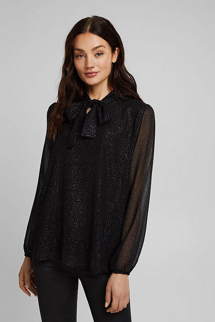 Pussycat bow chiffon blouse, BLACK, overview