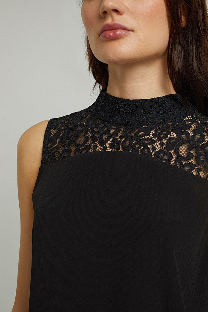 Blouse top with LENZING™ ECOVERO™, BLACK, detail image number 2