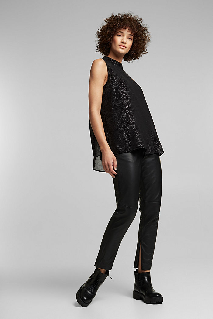 Chiffon blouse top, BLACK, detail image number 5