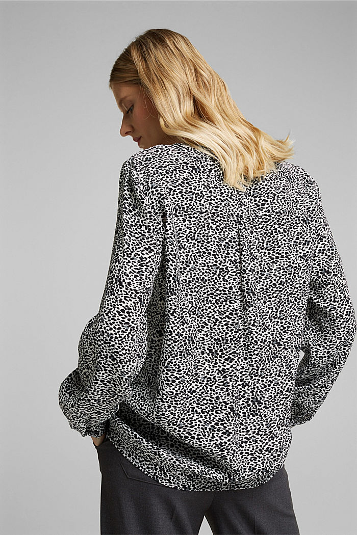 Crêpe blouse with an animal print, OFF WHITE, detail image number 3