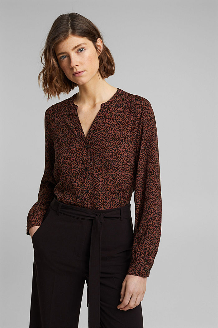 Crêpe blouse with an animal print, BROWN, detail image number 0