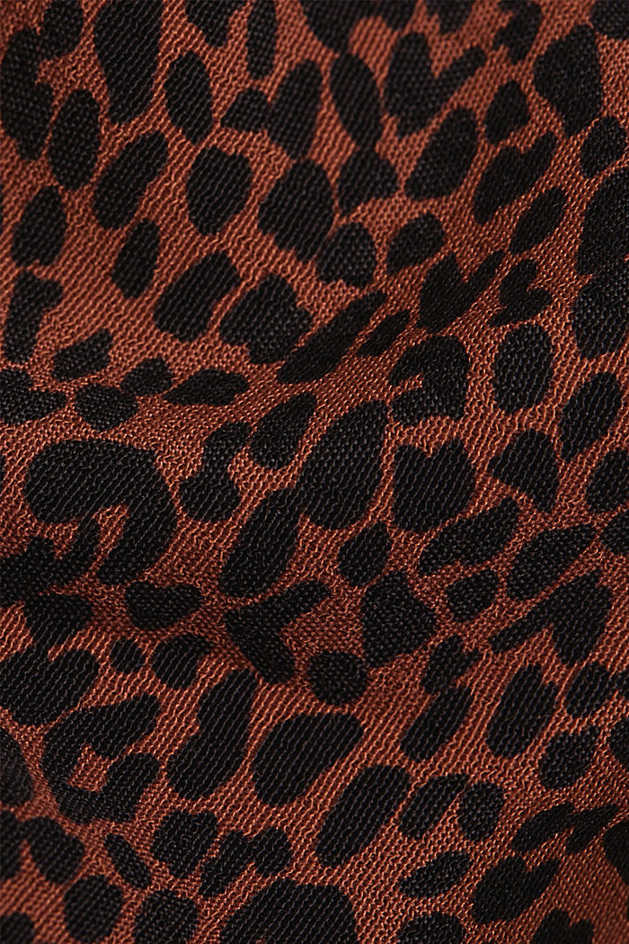 Crêpe blouse with an animal print, BROWN, detail image number 4