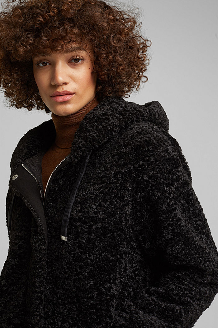 Teddy jacket with a hood, BLACK, detail image number 5