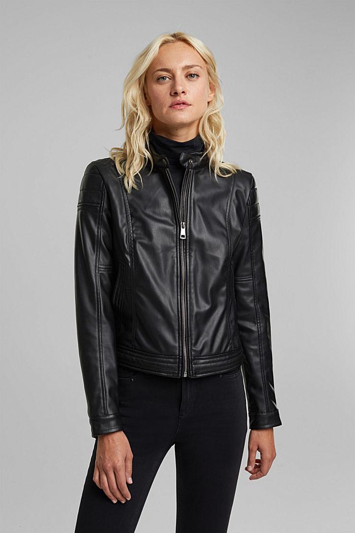 Vegan: faux leather biker jacket, BLACK, detail image number 0