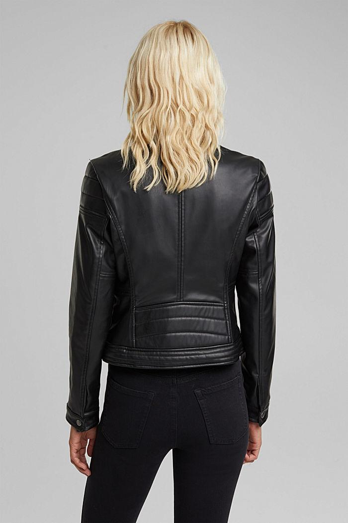 Vegan: faux leather biker jacket, BLACK, detail image number 3