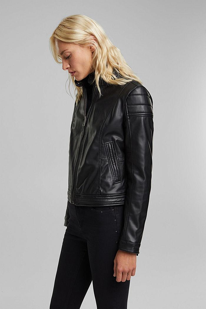 Vegan: faux leather biker jacket, BLACK, detail image number 5