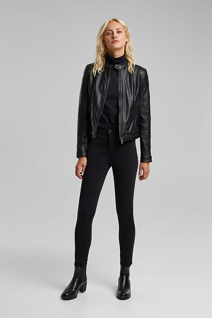 Vegan: faux leather biker jacket, BLACK, detail image number 6