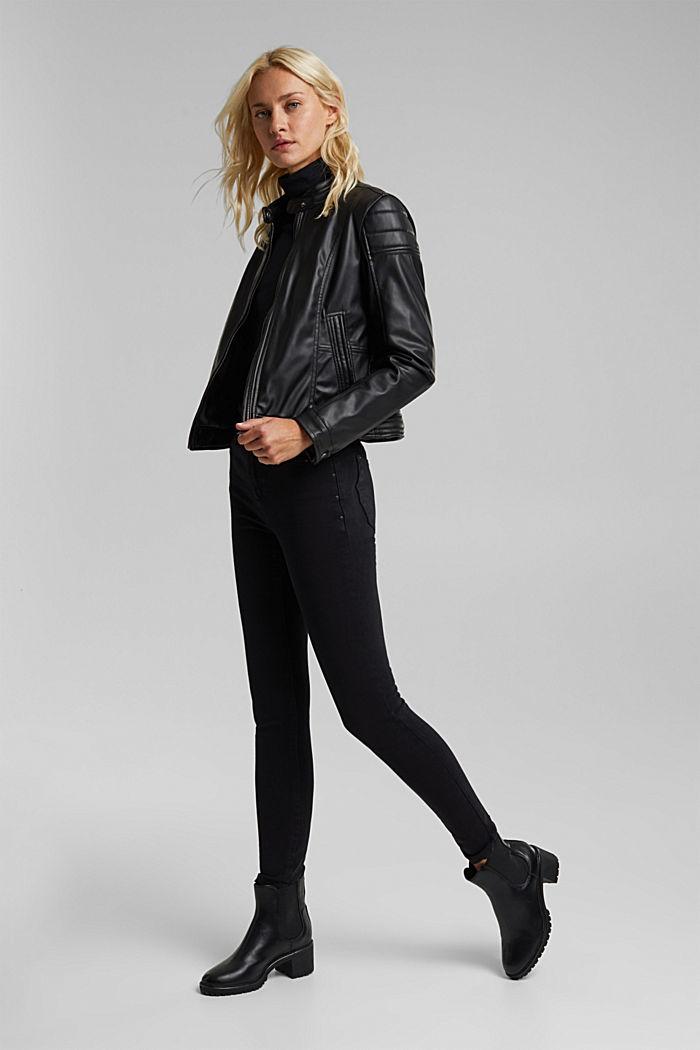 Vegan: faux leather biker jacket, BLACK, detail image number 1