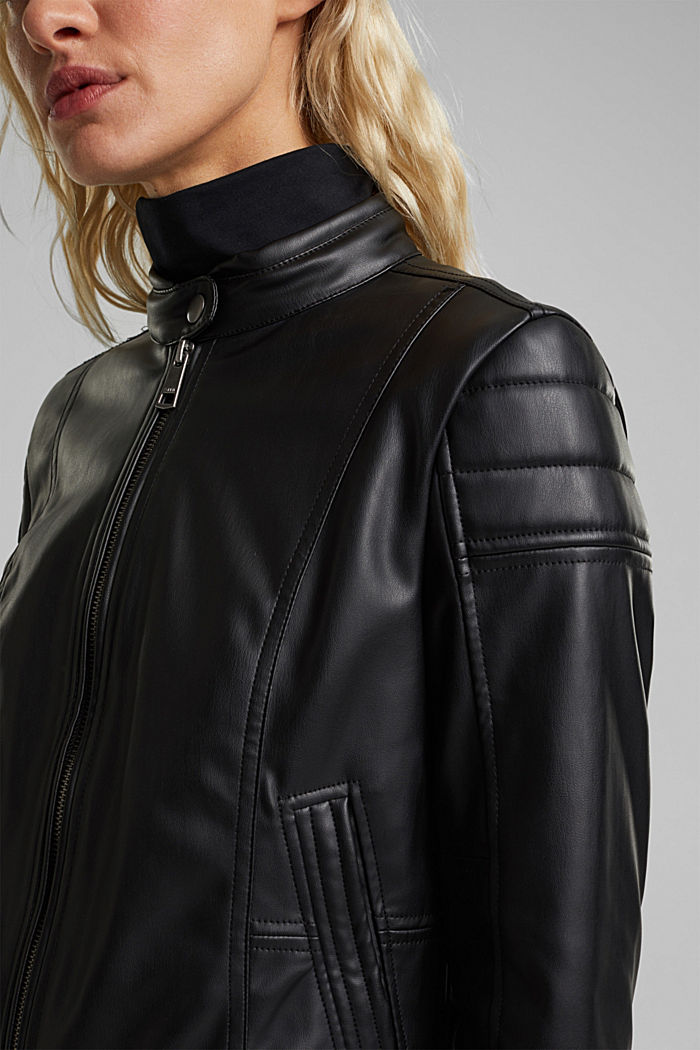 Vegan: faux leather biker jacket, BLACK, detail image number 2