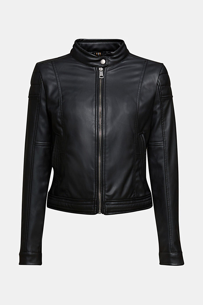 Vegan: faux leather biker jacket, BLACK, detail image number 7