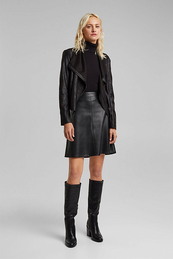 Faux leather jacket, BLACK, detail image number 1