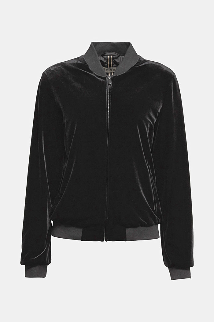 Velvet bomber jacket with knit borders, BLACK, detail image number 5