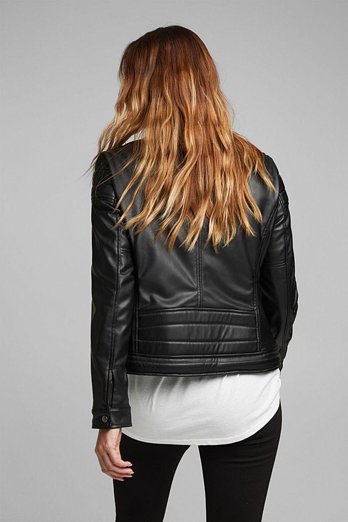 CURVY faux leather biker jacket, vegan, BLACK, detail image number 3