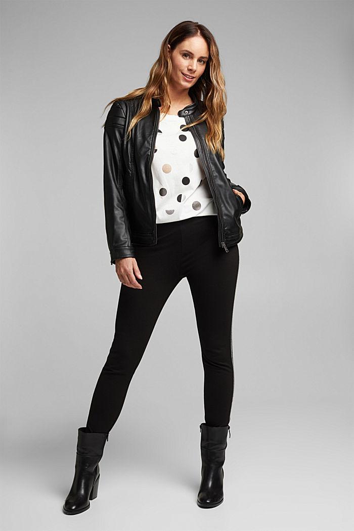 CURVY faux leather biker jacket, vegan, BLACK, detail image number 1