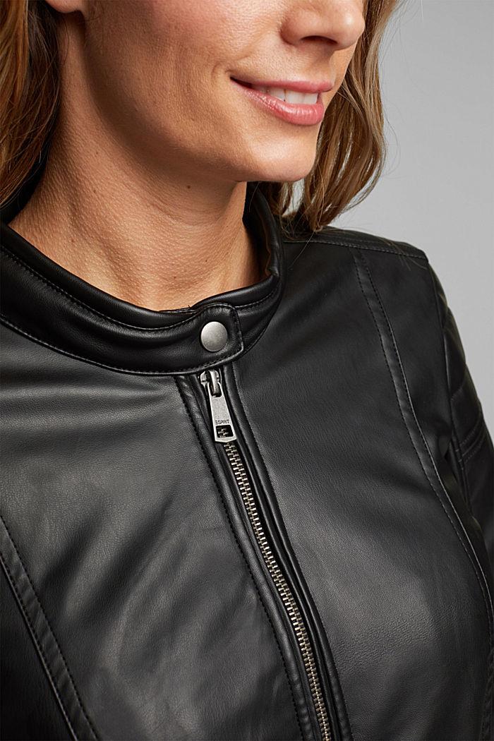 CURVY faux leather biker jacket, vegan, BLACK, detail image number 2