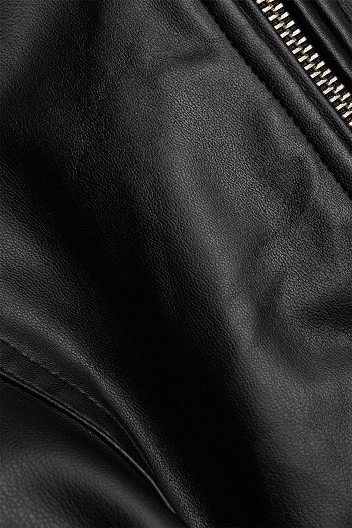 CURVY faux leather biker jacket, vegan, BLACK, detail image number 4