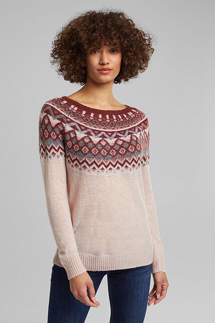 With wool and alpaca: Fair Isle jumper, NUDE, detail image number 0