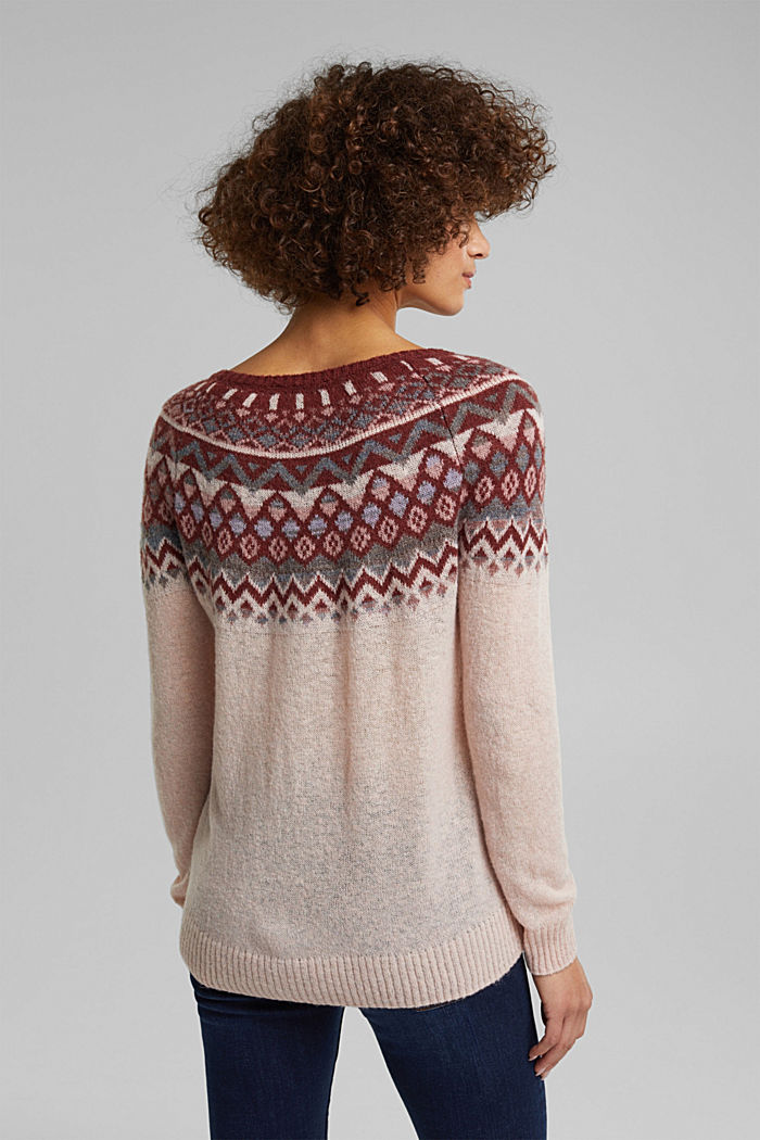 With wool and alpaca: Fair Isle jumper, NUDE, detail image number 3