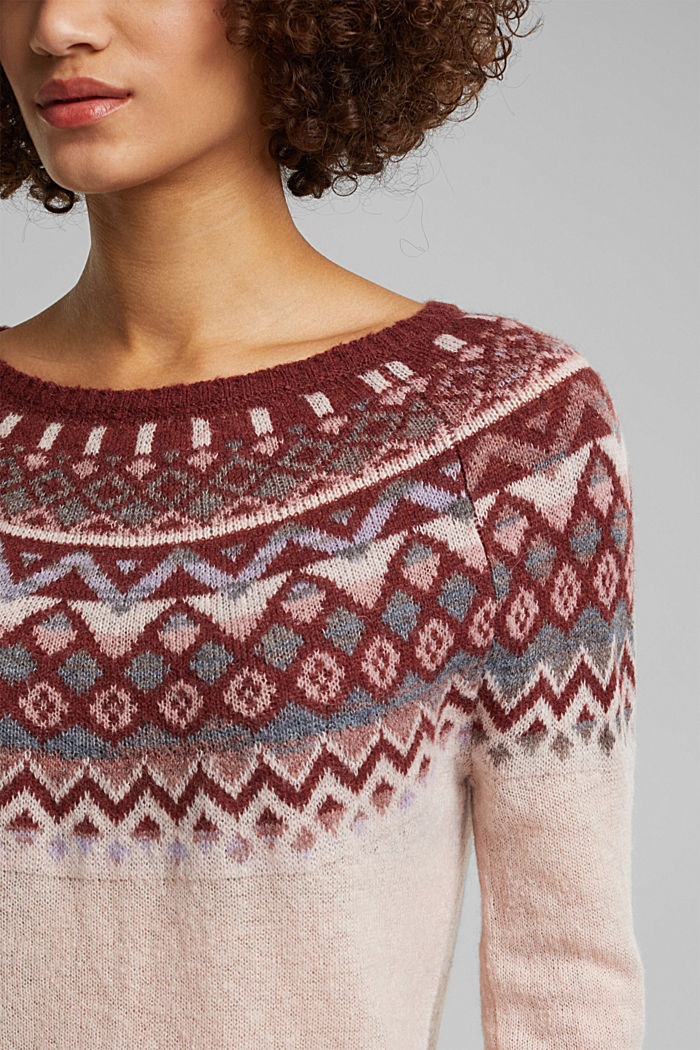 With wool and alpaca: Fair Isle jumper, NUDE, detail image number 2