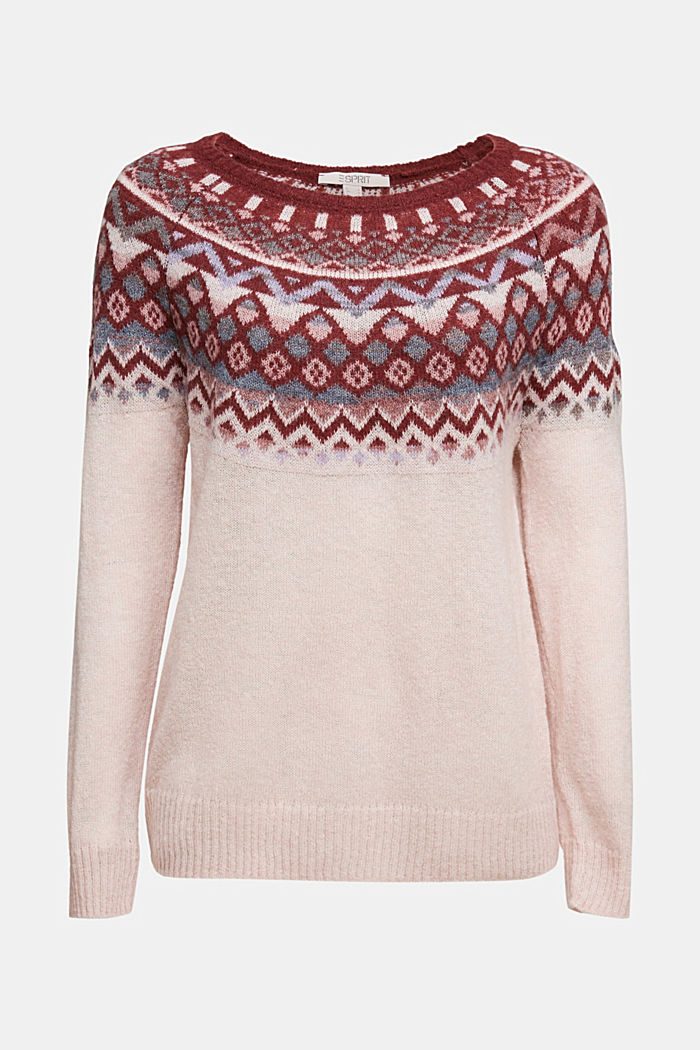 With wool and alpaca: Fair Isle jumper, NUDE, detail image number 5
