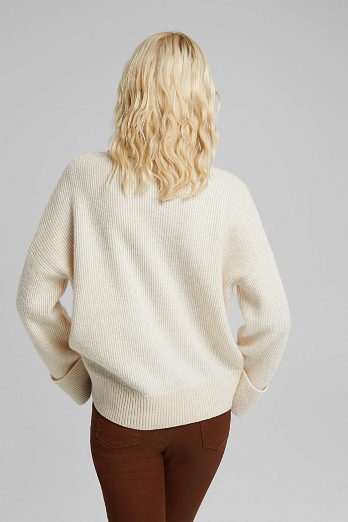 Wool blend: oversized jumper with a ribbed texture, CREAM BEIGE, detail image number 3