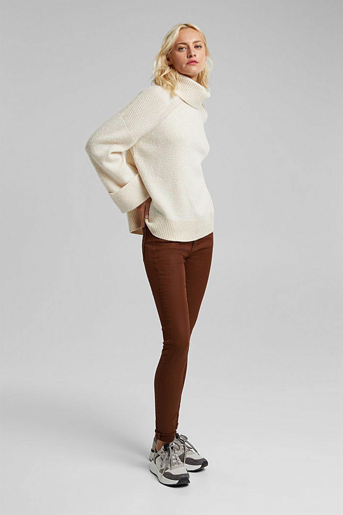 Wool blend: oversized jumper with a ribbed texture, CREAM BEIGE, detail image number 1