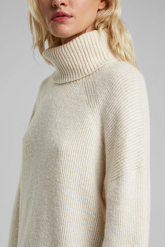 Wool blend: oversized jumper with a ribbed texture, CREAM BEIGE, detail image number 2