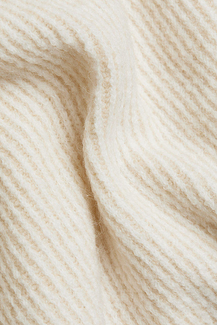 Wool blend: oversized jumper with a ribbed texture, CREAM BEIGE, detail image number 4