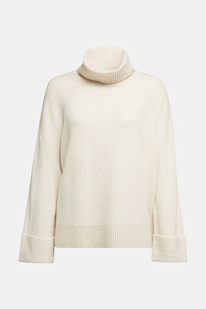 Wool blend: oversized jumper with a ribbed texture, CREAM BEIGE, detail image number 6